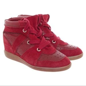 Isabel Marant Red Suede High Top Wedge Sneakers 10